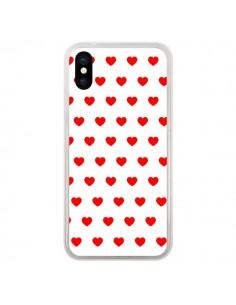 Coque Coeurs Rouges Fond Blanc pour iPhone X - Laetitia