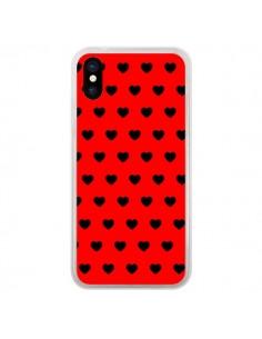 Coque Coeurs Noirs Fond Rouge pour iPhone X - Laetitia