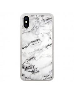 Coque Marbre Marble Blanc White pour iPhone X - Laetitia