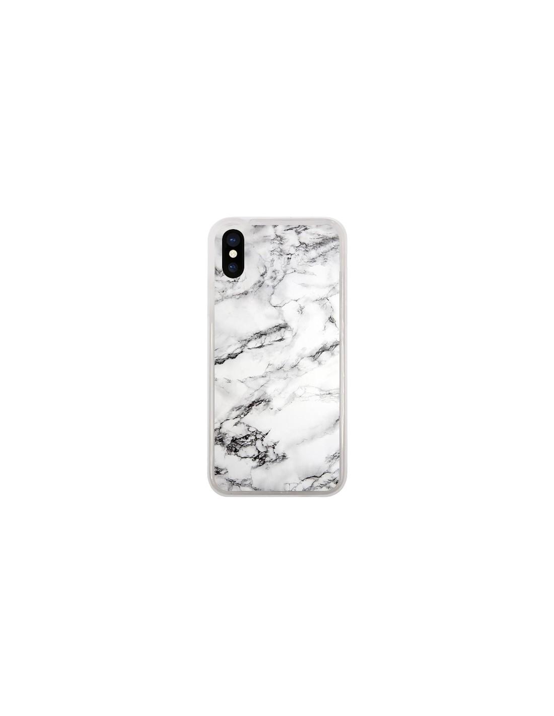 Coque iPhone X et XS Marbre Marble Blanc White - Laetitia