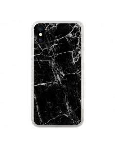 Coque Marbre Marble Noir Black pour iPhone X - Laetitia