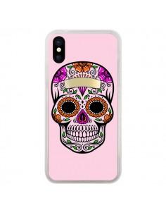 Coque Tête de Mort Mexicaine Rose Multicolore pour iPhone X - Laetitia