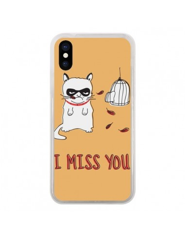Coque iPhone X et XS Chat I Miss You...