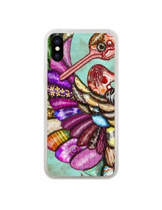 Coque iPhone X et XS Paon Multicolore Eco Bird - Maximilian San