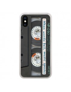 Coque iPhone X et XS Cassette Words K7 - Maximilian San