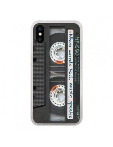 Coque iPhone X et XS Cassette Words K7 - Maximilian San