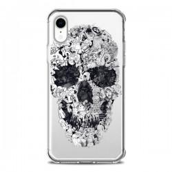 Coque iPhone XR Doodle Skull Dessin Tête de Mort Transparente souple - Ali Gulec