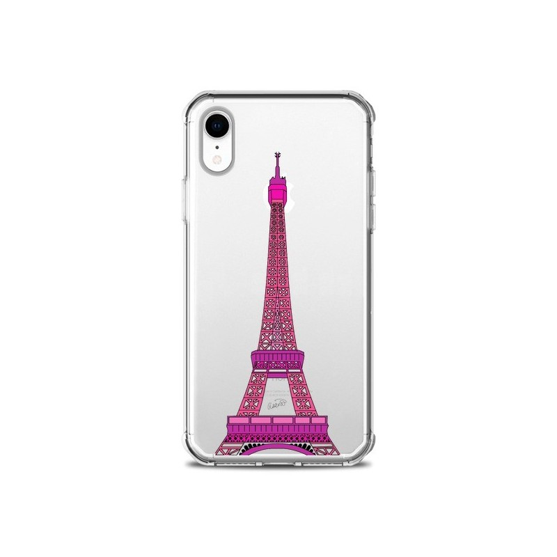 Coque iPhone XR Tour Eiffel Rose Paris Transparente souple - Asano Yamazaki