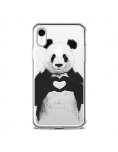 Coque iPhone XR Panda All You Need Is Love Transparente souple - Balazs Solti