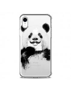 Coque iPhone XR Funny Panda Moustache Transparente souple - Balazs Solti