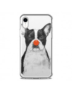 Coque iPhone XR Clown Bulldog Dog Chien Transparente souple - Balazs Solti