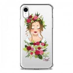 Coque iPhone XR Femme Closed Eyes Fleurs Transparente souple - Chapo