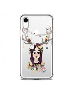 Coque iPhone XR Christmas Girl Femme Noel Bois Cerf Transparente souple - Chapo