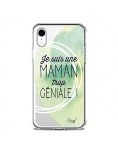 Coque iPhone XR Je suis une Maman trop Géniale Vert Transparente souple - Chapo