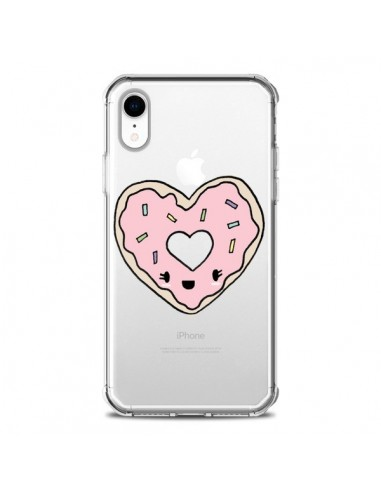 Coque iPhone XR Donuts Heart Coeur Rose Transparente souple - Claudia Ramos