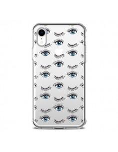 Coque iPhone XR Eyes Oeil Yeux Bleus Mosaïque Transparente souple - Léa Clément