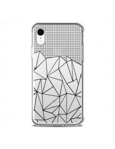 Coque iPhone XR Lignes Grille Grid Abstract Noir Transparente souple - Project M