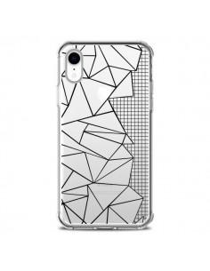 Coque iPhone XR Lignes Grilles Side Grid Abstract Noir Transparente souple - Project M