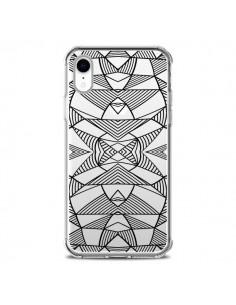 Coque iPhone XR Lignes Miroir Grilles Triangles Grid Abstract Noir Transparente souple - Project M