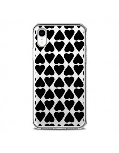 Coque iPhone XR Coeurs Heart Noir Transparente souple - Project M