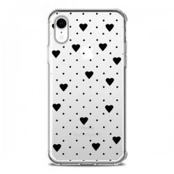 Coque iPhone XR Point Coeur Noir Pin Point Heart Transparente souple - Project M