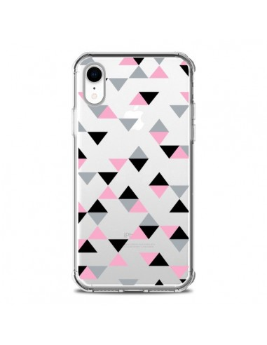 Coque iPhone XR Triangles Pink Rose...