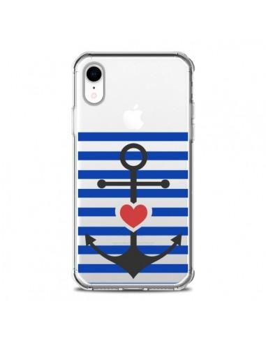 Coque iPhone XR Mariniere Ancre Marin...