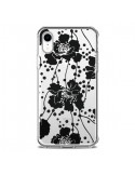 Coque iPhone XR Fleurs Noirs Flower Transparente souple - Dricia Do