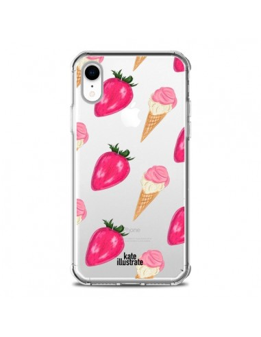 Coque iPhone XR Strawberry Ice Cream Fraise Glace Transparente souple - kateillustrate