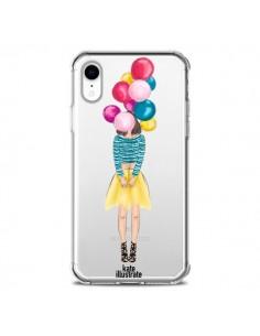 Coque iPhone XR Girls Balloons Ballons Fille Transparente souple - kateillustrate