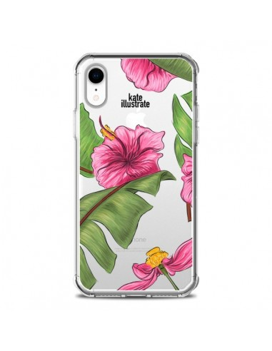 coque iphone xr tropical leaves fleurs feuilles transparente souple kateillustrate