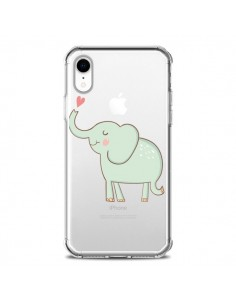 Coque iPhone XR Elephant Elefant Animal Coeur Love Transparente souple - Petit Griffin