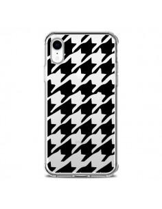 Coque iPhone XR Vichy Gros Carre noir Transparente souple - Petit Griffin