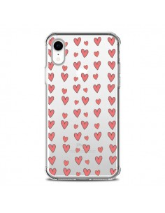 Coque iPhone XR Coeurs Heart Love Amour Rouge Transparente souple - Petit Griffin