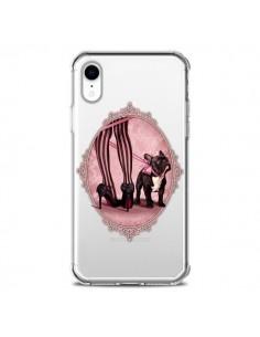 Coque iPhone XR Lady Jambes Chien Bulldog Dog Rose Pois Noir Transparente souple - Maryline Cazenave