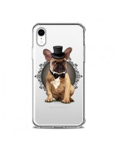 Coque iPhone XR Chien Bulldog Noeud Papillon Chapeau Transparente souple - Maryline Cazenave