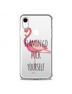 Coque iPhone XR Flamingo Fuck Transparente souple - Maryline Cazenave