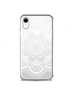 Coque iPhone XR Mandala Blanc Azteque Transparente souple - Nico