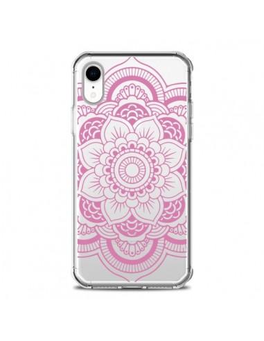 Coque iPhone XR Mandala Rose Clair...
