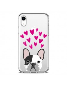 Coque iPhone XR Bulldog Français Coeurs Chien Transparente souple - Pet Friendly