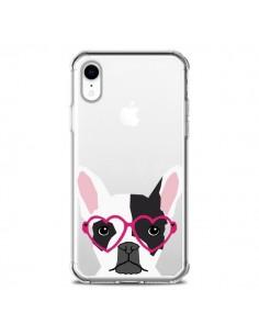 Coque iPhone XR Bulldog Français Lunettes Coeurs Chien Transparente souple - Pet Friendly