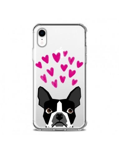 Coque iPhone XR Boston Terrier Coeurs Chien Transparente souple - Pet Friendly