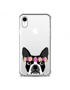 Coque iPhone XR Boston Terrier Fleurs Chien Transparente souple - Pet Friendly