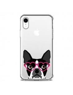 Coque iPhone XR Boston Terrier Lunettes Coeurs Chien Transparente souple - Pet Friendly