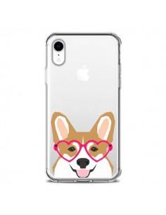 Coque iPhone XR Chien Marrant Lunettes Coeurs Transparente souple - Pet Friendly