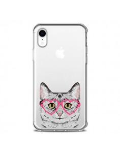 Coque iPhone XR Chat Gris Lunettes Coeurs Transparente souple - Pet Friendly