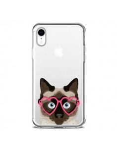Coque iPhone XR Chat Marron Lunettes Coeurs Transparente souple - Pet Friendly