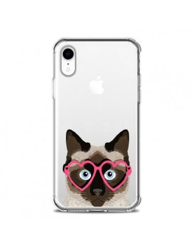 Coque iPhone XR Chat Marron Lunettes...