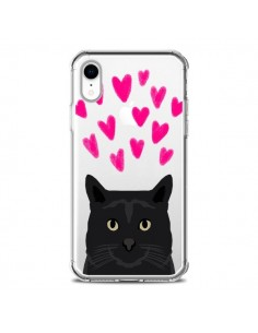 Coque iPhone XR Chat Noir Coeurs Transparente souple - Pet Friendly
