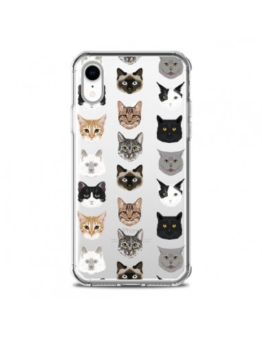 Coque iPhone XR Chats Transparente...
